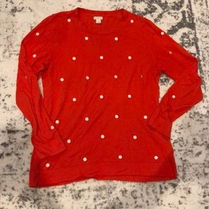 J.crew red sweater with white stitched polkadots